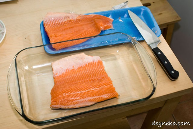 cutting trout fillet