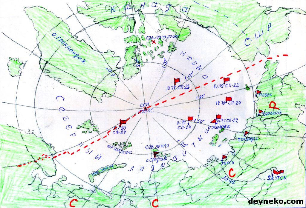 карта дрейфующих полярных станций
