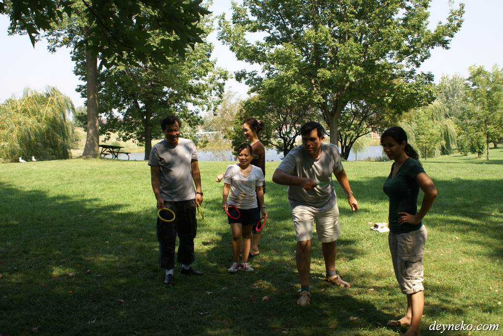 French language students are playing in a park