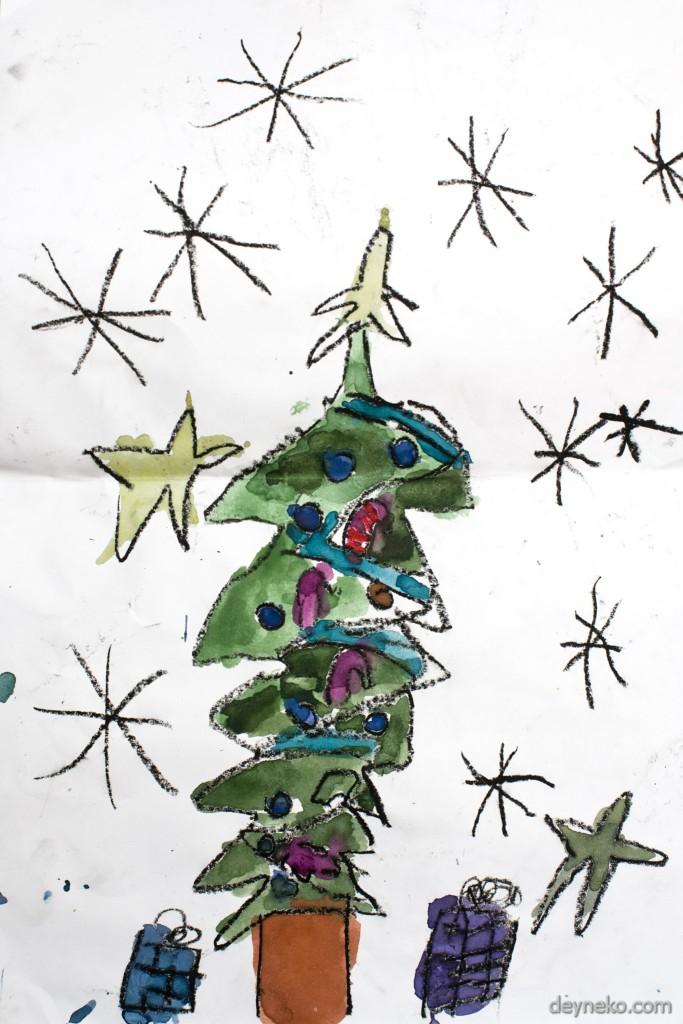 детские рисунки на тему новый год
