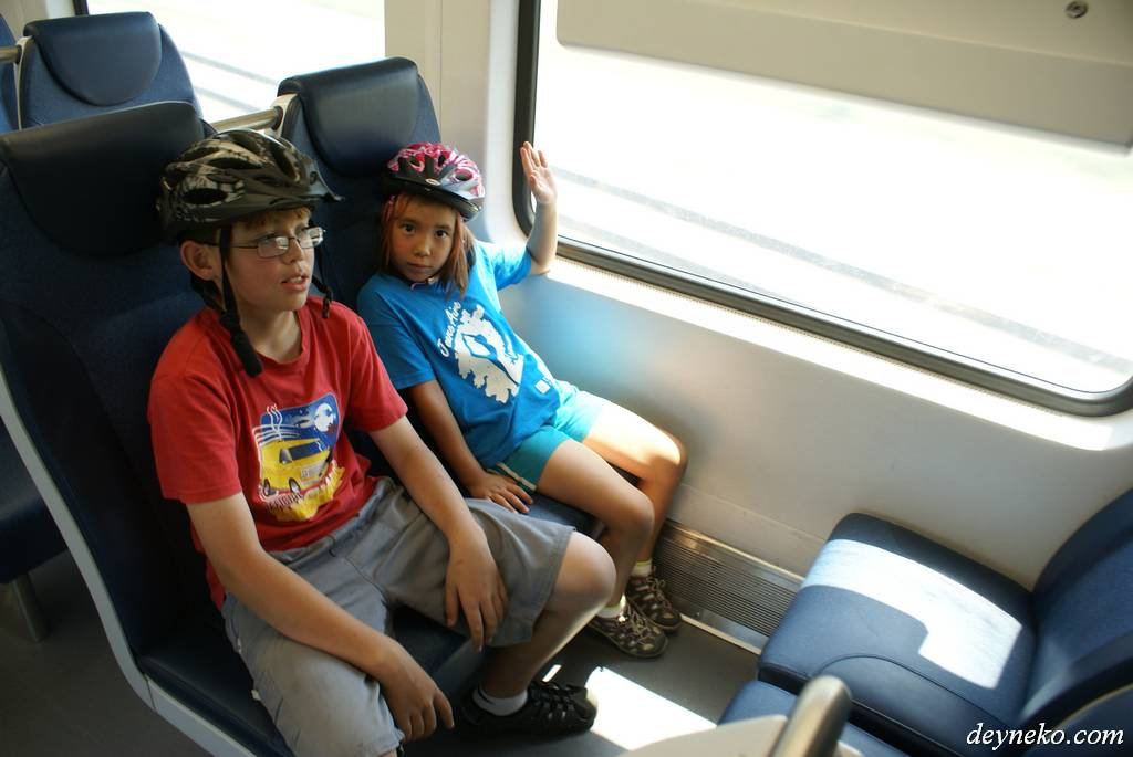 Kids in a commuter Montreal's trains