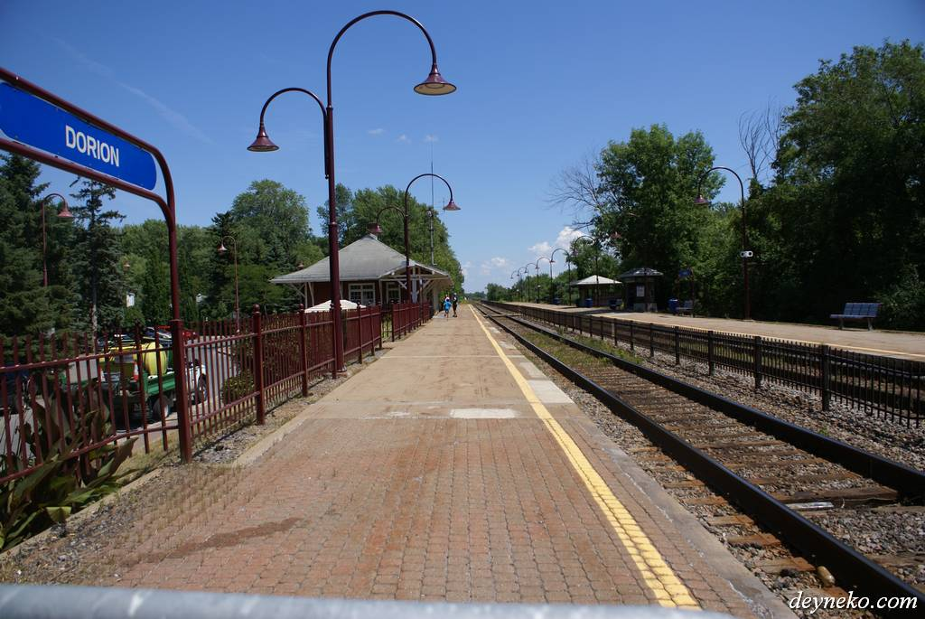 Dorion train station, Quebec. Our bicycle tour starts here.