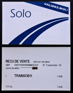 Solo - ticket for Montreal local train